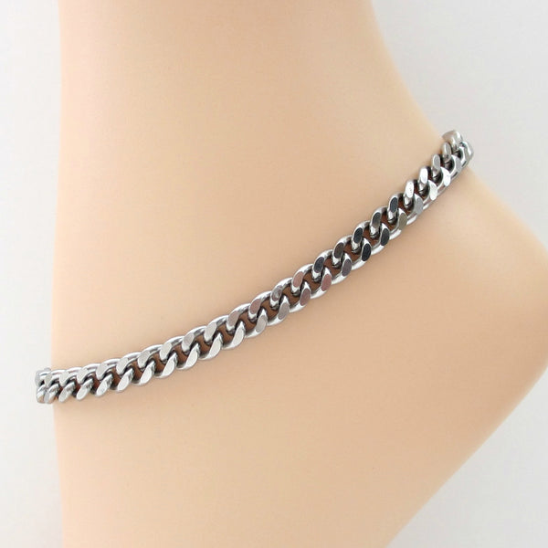 Thick stainless steel anklet, 7 mm curb chain - Tattooed and Chained Chainmaille  - 1