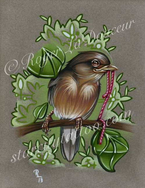 "Original art print, Robin Holding String, size 8""x10"" - Tattooed and Chained Chainmaille"