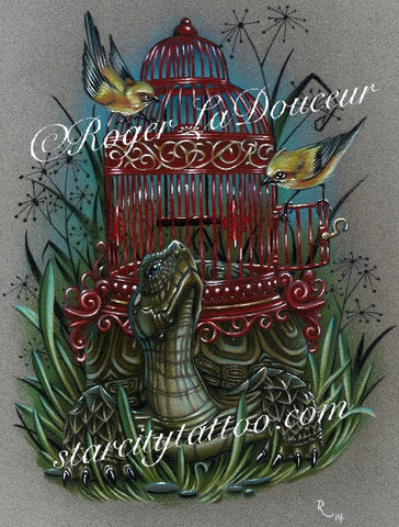 "Original art print, Turtle Birdcage, size 8""x10"" - Tattooed and Chained Chainmaille"