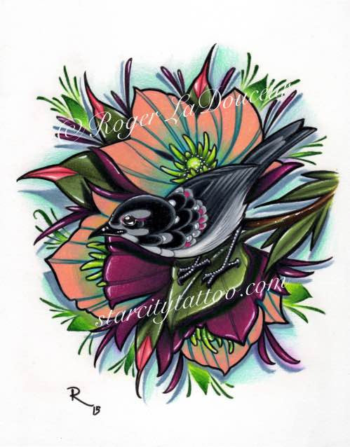 "Original art print, Blackbird and Hellebore Flowers, size 8""x10"" - Tattooed and Chained Chainmaille"