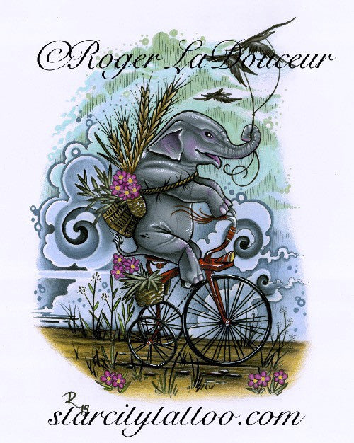 "Original art print, Elephant Riding Tricycle, size 8""x10"" - Tattooed and Chained Chainmaille"