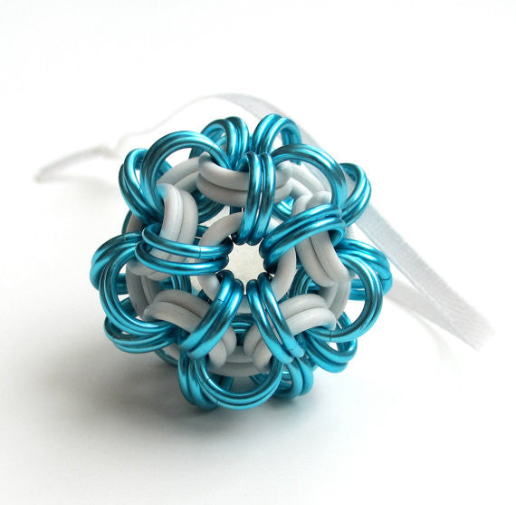 Turquoise and white chainmaille dodecahedron Christmas ornament - Tattooed and Chained Chainmaille  - 2