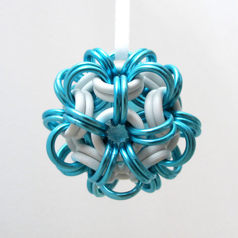 Turquoise and white chainmaille dodecahedron Christmas ornament - Tattooed and Chained Chainmaille  - 1