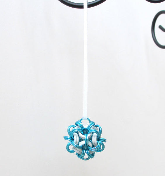 Turquoise and white chainmaille dodecahedron Christmas ornament - Tattooed and Chained Chainmaille  - 5