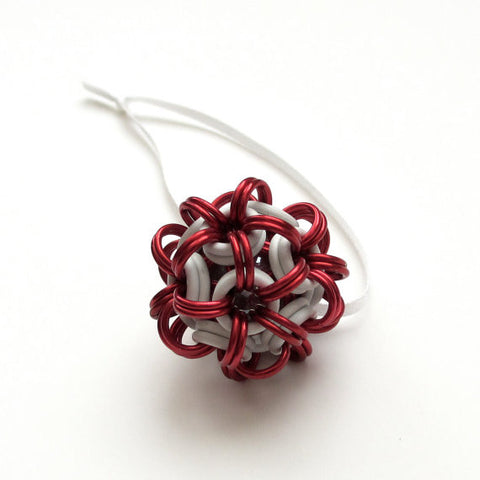 Red and white chainmaille dodecahedron Christmas ornament - Tattooed and Chained Chainmaille  - 1