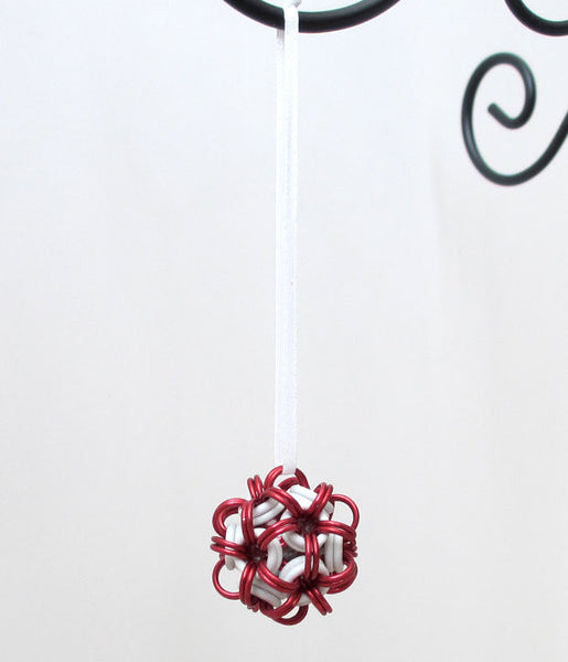 Red and white chainmaille dodecahedron Christmas ornament - Tattooed and Chained Chainmaille  - 3