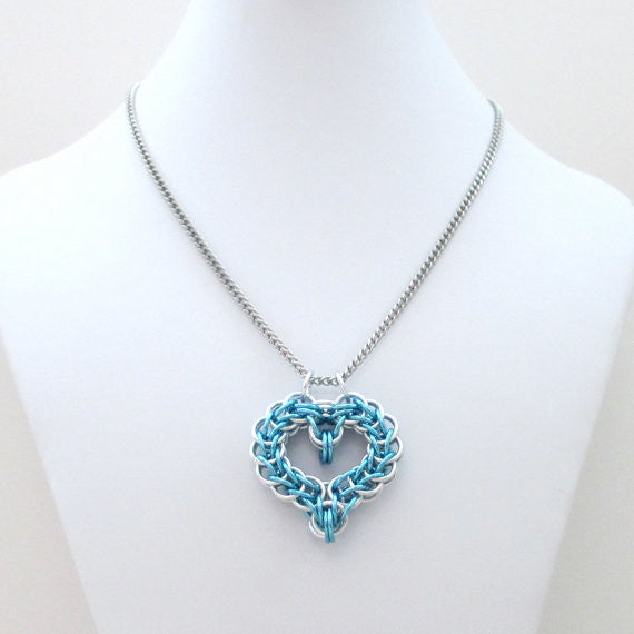 Turquoise chainmaille heart pendant - Tattooed and Chained Chainmaille  - 5