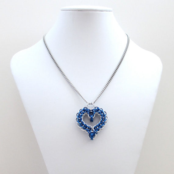 Blue chainmaille heart pendant - Tattooed and Chained Chainmaille  - 5