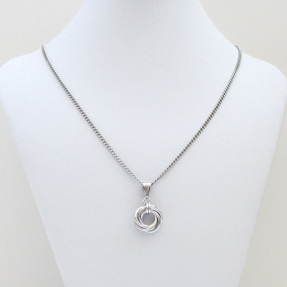 Silver love knot chainmaille pendant necklace - Tattooed and Chained Chainmaille  - 4