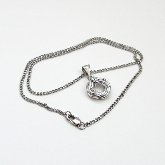 Silver love knot chainmaille pendant necklace - Tattooed and Chained Chainmaille  - 5