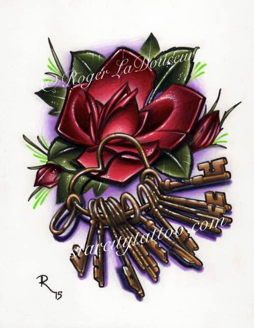 "Original art print, Rose with Keys on Heart Shaped Ring, size 8""x10"" - Tattooed and Chained Chainmaille"