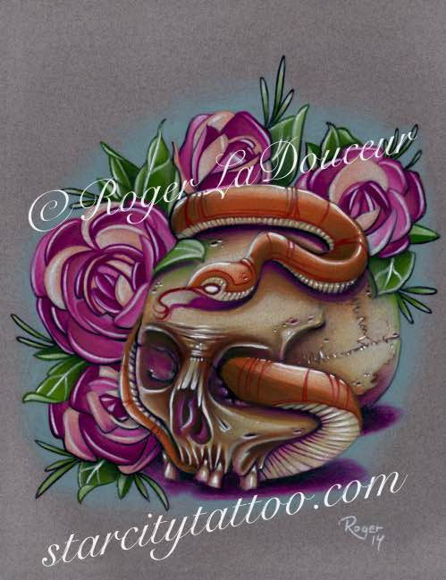 "Original art print, Skull and Snake, size 8""x10"" - Tattooed and Chained Chainmaille"