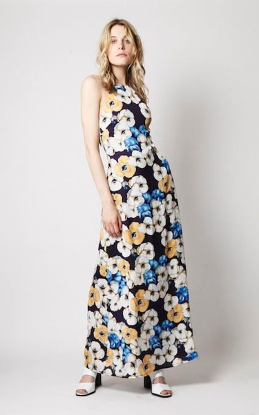 61bfafd951b Hover to zoom. Scroll Images or Select Thumbnail. Elegance - Maxi Dress In  Mustard Blue Floral Print ...