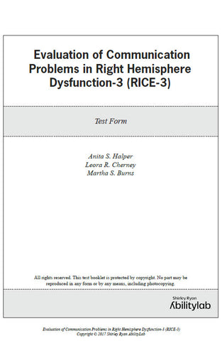 RIC Evaluation of Communication Problems in Right Hemisphere Dysfunction-3 (RICE-3)
