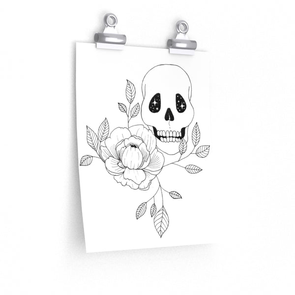 Skull and Peony Poster Print