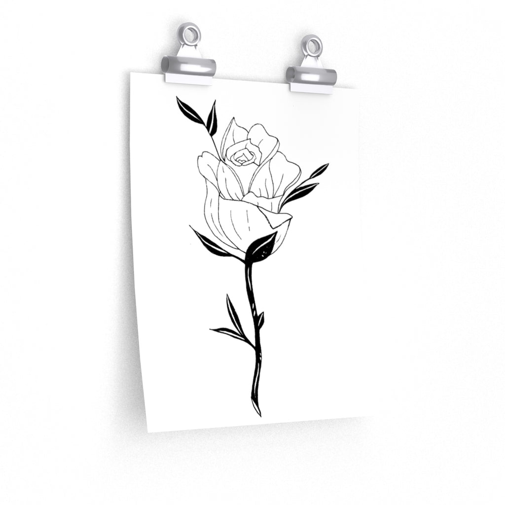Rose and Stem Poster Print