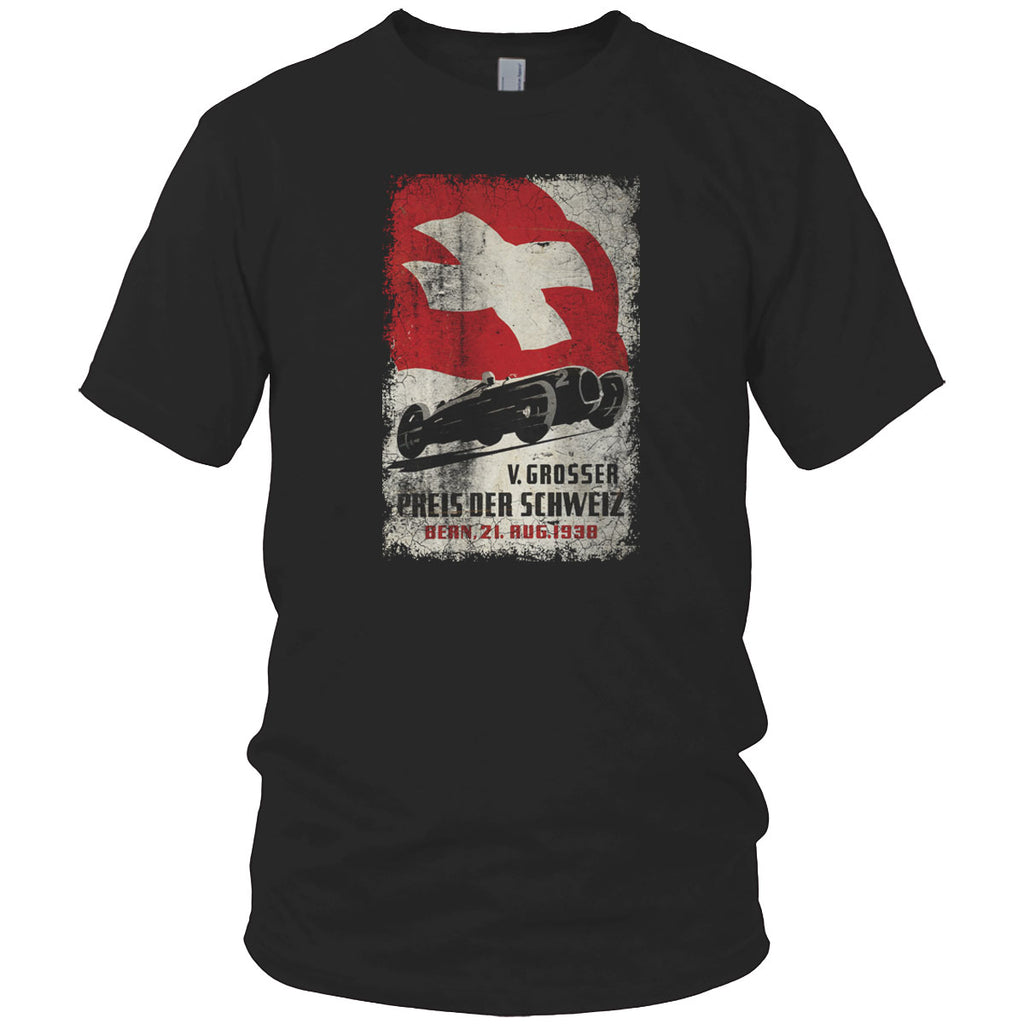 Swiss Car Race Vintage T Shirt Navy