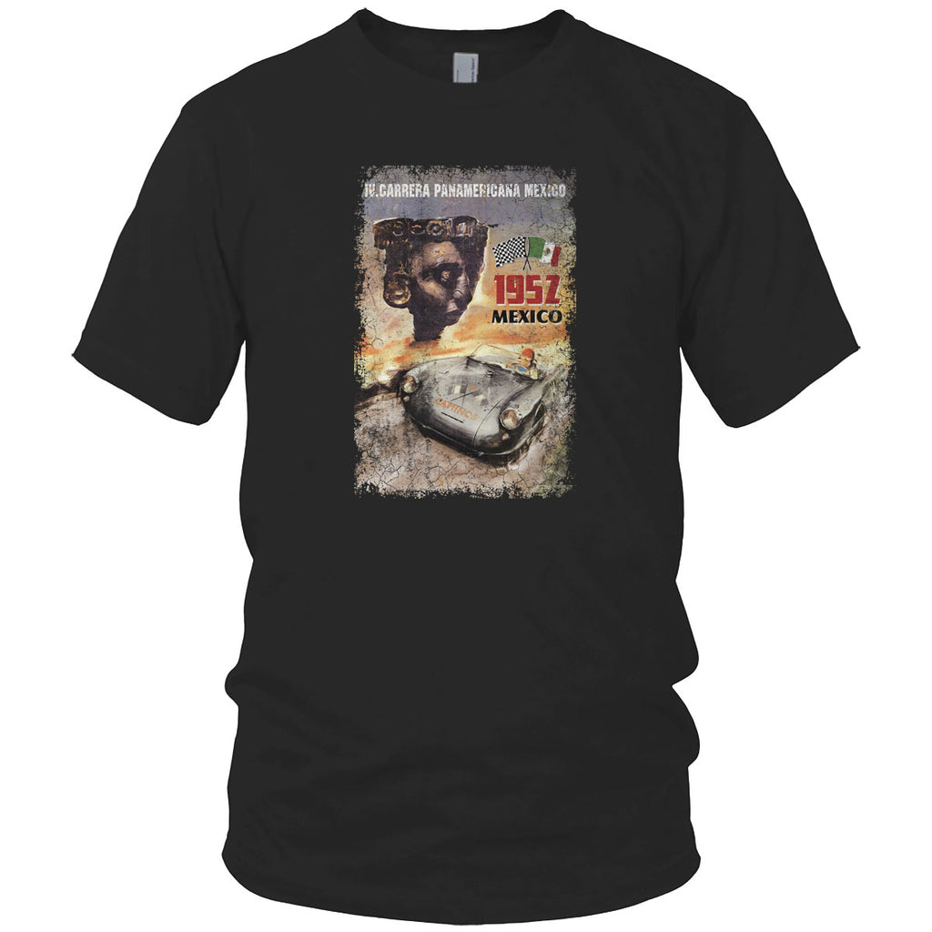 Panamericana Mexico Car Race Vintage T Shirt Charcoal
