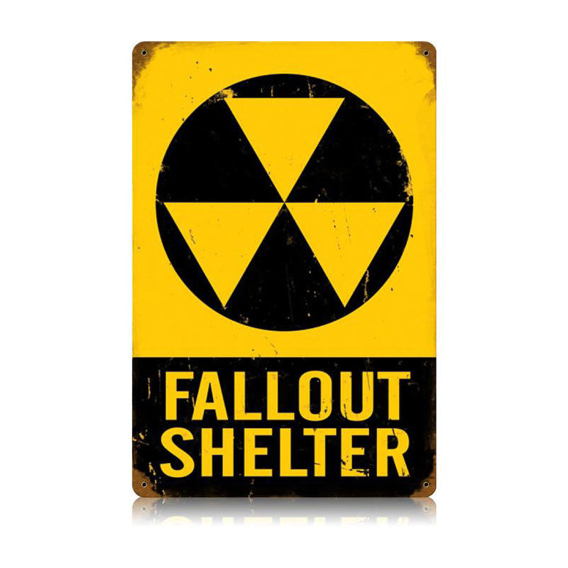 "Fallout Shelter 12"" X 18"" Vintage Metal Sign"