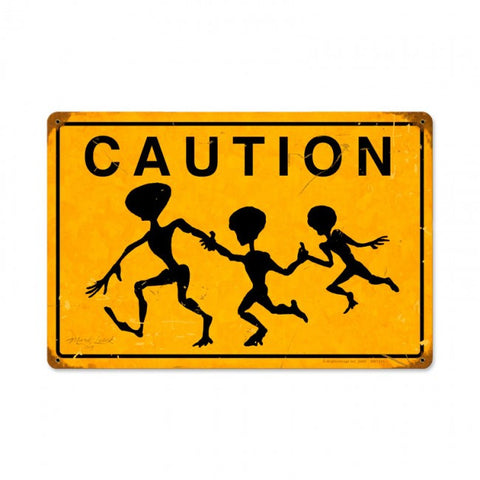 Alien Crossing Vintage Metal Sign