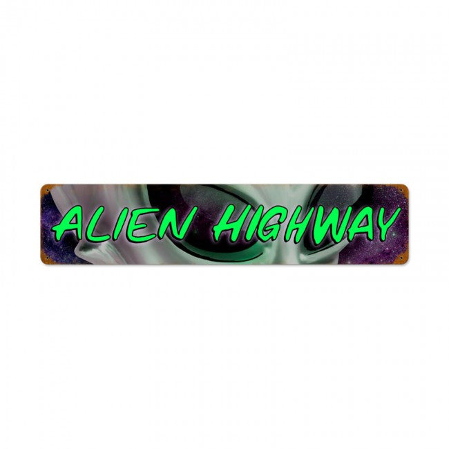 Alien Hwy Vintage Metal Sign