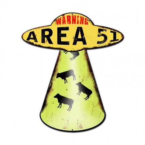 Area 51 Cow Abduction Vintage Metal Sign