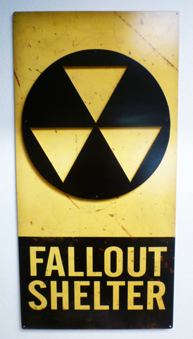 3-D Fallout Shelter Vintage Metal Sign