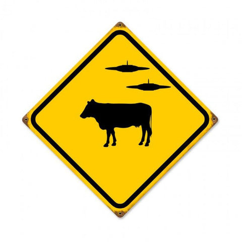 Cow Ufo Vintage Metal Sign
