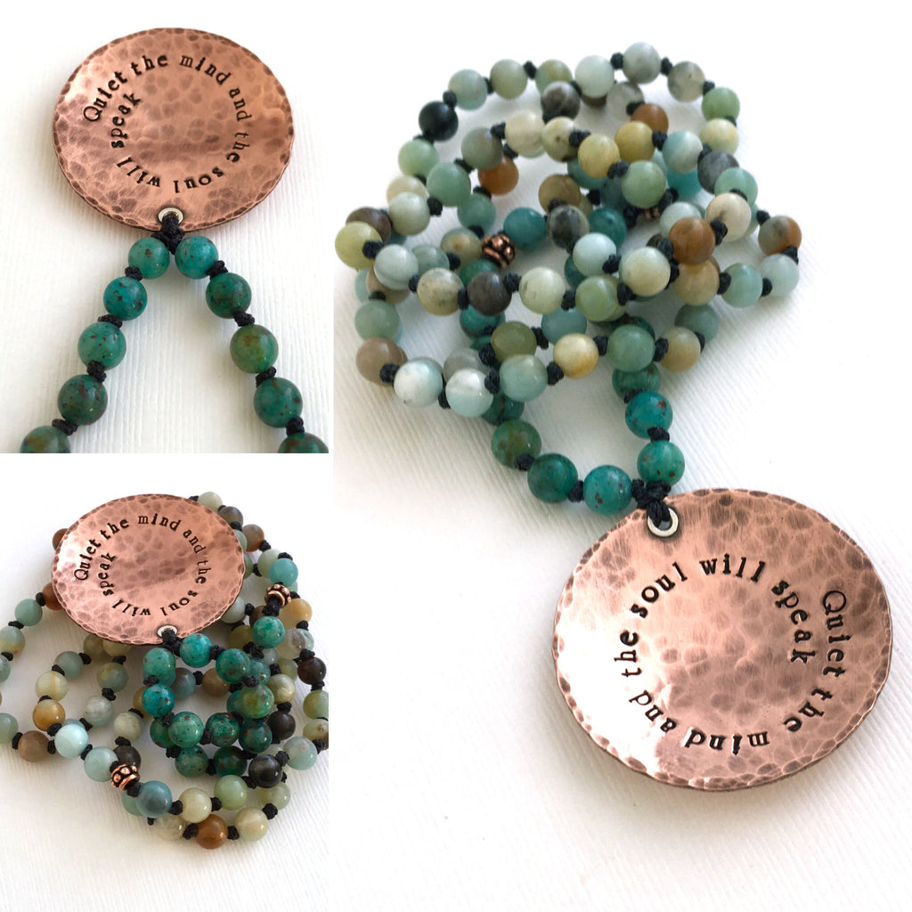 Cuprite Amazonite and Copper Hand Knotted Petite 108 Mala