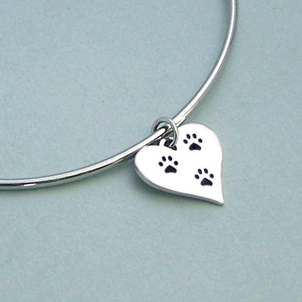 Heart Paw Expandable Wire Bangle Bracelet
