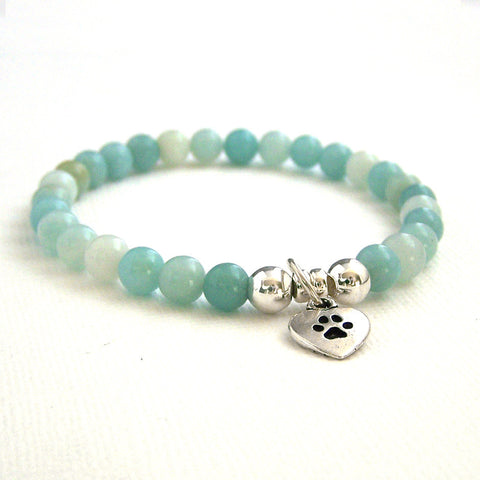 Amazonite Stretch Bead Bracelet with Paw Charm