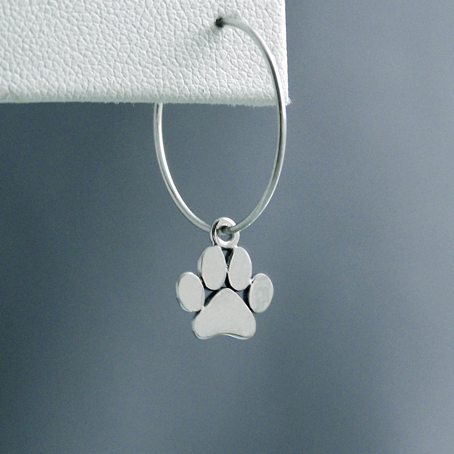 Little Solid Paw Print Sterling Silver Hoop Earrings