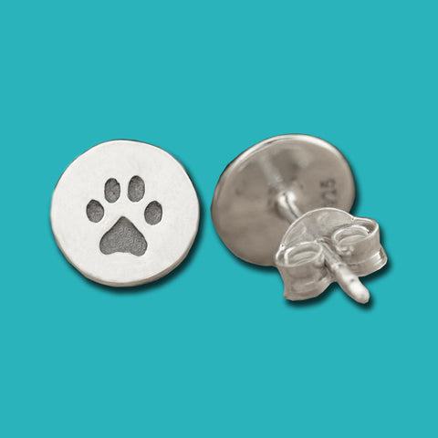 Paw Print Post Earrings - Sterling Silver