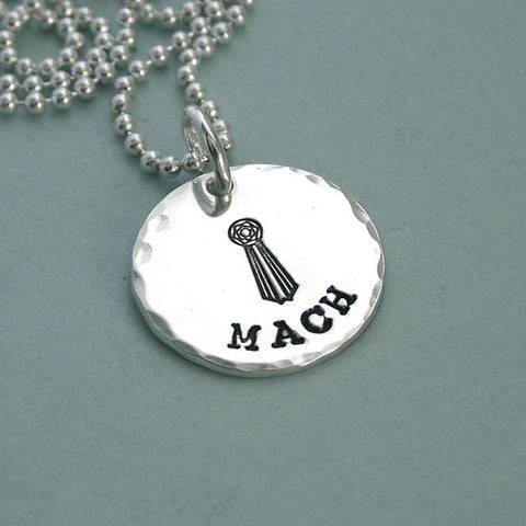 Little MACH Necklace - Hand Stamped Sterling Silver Title Necklace