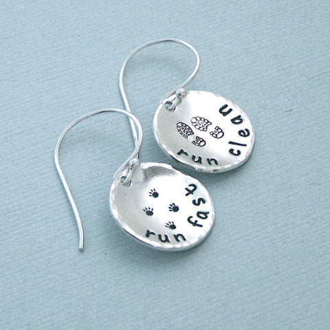 Run Fast Run Clean - Hand Stamped Sterling Silver Dog Agility Earrings