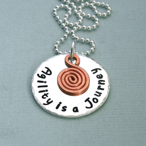 Agility is a journey - Sterling Silver Disc with Copper Spiral Charm