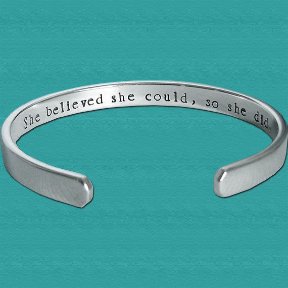 Dog Agility Sterling Silver Affirmation Cuff - she believed she could so she did