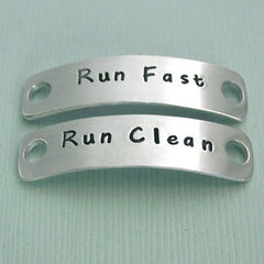 Run Fast Run Clean - Hand Stamped Aluminum Shoe Tags