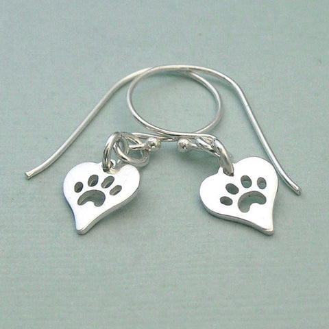 Heart Dog Sterling Silver Earrings