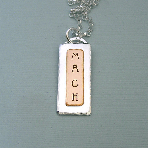 MACH Necklace - Hand Stamped Sterling Silver and 14K Gold Filled
