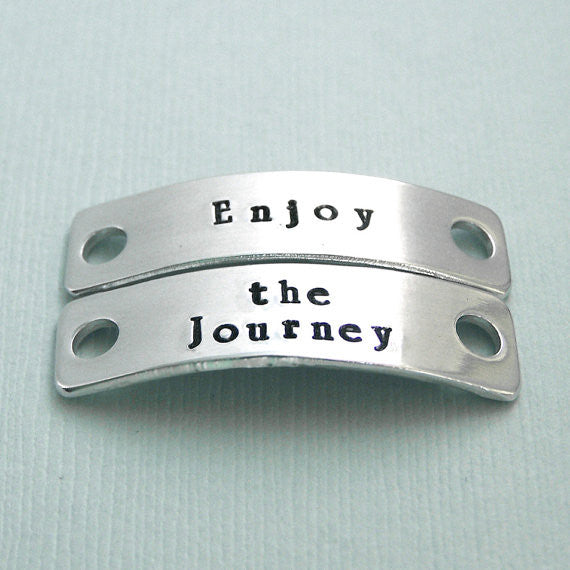 Enjoy the Journey - Hand Stamped Aluminum Shoe Tags