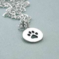 Tiny Paw Print Sterling Silver Charm Necklace - Dog Lover Gift