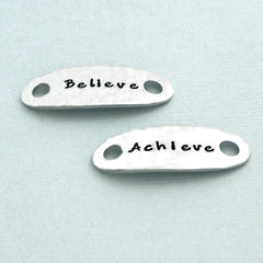 Believe Achieve - Hand Stamped Pewter Runner's Shoe Tags