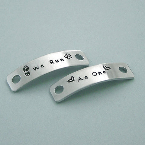 We Run as One - Hand Stamped Aluminum Shoe Tags