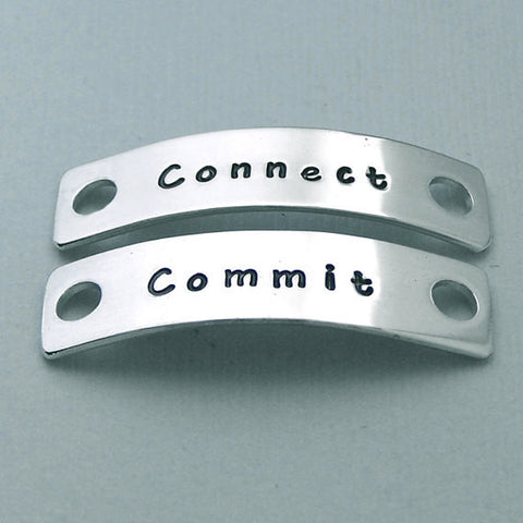 Connect Commit - Hand Stamped Aluminum Shoe Tags