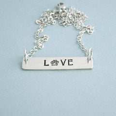 Love PawTrendy Bar Necklace - Hand Stamped Sterling Silver