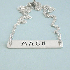 MACH Trendy Bar Necklace - Hand Stamped Sterling Silver