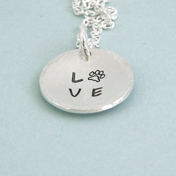 Hand Stamped Sterling Silver Love Paw Disc Necklace - Dog Lover Gift