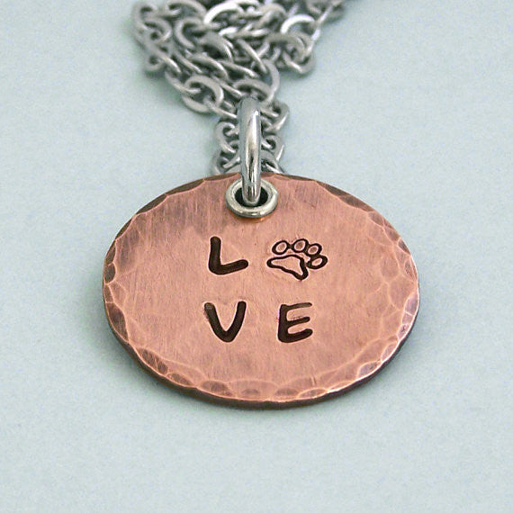 Hand Stamped Copper Love Paw Disc Necklace - Dog Lover Gift
