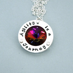 Agility is a Journey - Sterling Silver and Swarovski Crystal Necklace